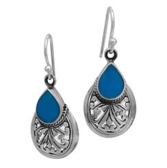 """Sterling Silver Teardrop Stone Scrolls """"Sofie Anne"""" Earrings, Turquoise"""