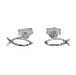 Sterling Silver Ichthys Fish Stud Post Earrings