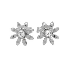Sterling Silver Stone Flower Post Earrings, Clear
