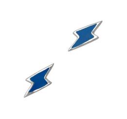 Sterling Silver Enamelled Lightning Bolt Post Earrings, Blue