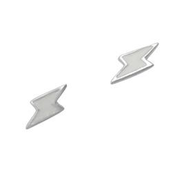 Sterling Silver Enamelled Lightning Bolt Post Earrings, White