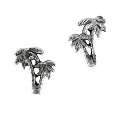 Sterling Silver Double Palm Trees Stud Post Earrings