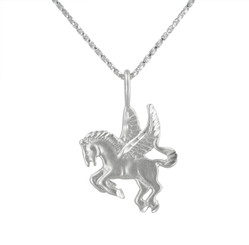 Sterling Silver Winged Pegasus Pendant Necklace
