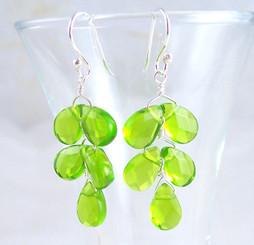"Sterling Silver ""Fern"" Crystal Earrings, Spring Green"