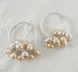 "Sterling Silver and Pearl Cluster 1"" Hoop Earrings, Pink"