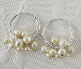 "Sterling Silver and Pearl Cluster 1"" Hoop Earrings, White"