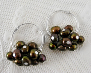 "Sterling Silver and Pearl Cluster 1"" Hoop Earrings, Brown"