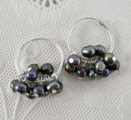 "Sterling Silver and Pearl Cluster 1"" Hoop Earrings, Peacock"