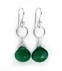 Sterling Silver Circle Charm Teardrop Stone Drop Earrings, Green Onyx