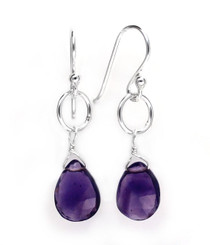 Sterling Silver Circle Charm Teardrop Stone Drop Earrings, Amethyst