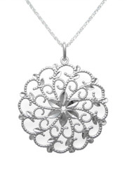 Sterling Silver Filigree Flower Pendant Necklace