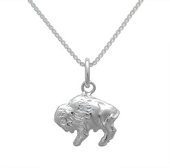 Sterling Silver Buffalo Pendant Necklace