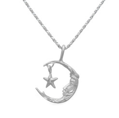 Sterling Silver Moon and Dangling Star Matte Pendant Necklace