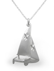 Sterling Silver Sailboat Etched Matte Finish Pendant Necklace