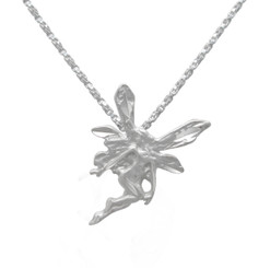 Sterling Silver Fairy Etched and Matte Finish Pendant Necklace