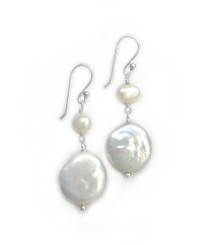 Sterling Silver Cultured Pearl Link Coin Pearl Drop Earrings, White