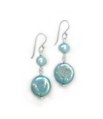 Sterling Silver Cultured Pearl Link Coin Pearl Drop Earrings, Aqua