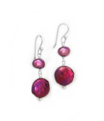 Sterling Silver Cultured Pearl Link Coin Pearl Drop Earrings, Fuschia