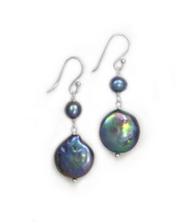Sterling Silver Cultured Pearl Link Coin Pearl Drop Earrings, Peacock