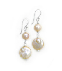 Sterling Silver Cultured Pearl Link Coin Pearl Drop Earrings, Pink