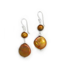 Sterling Silver Cultured Pearl Link Coin Pearl Drop Earrings, Golden