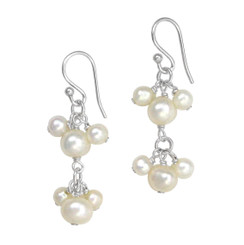 Sterling Silver Pearl Cluster Two Tier Drop Earrings, White