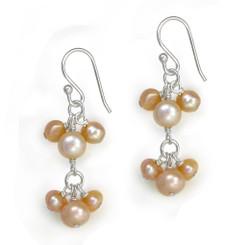 Sterling Silver Pearl Cluster Two Tier Drop Earrings, Pink