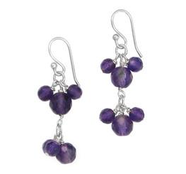 Sterling Silver Stone Cluster Two Tier Drop Earrings, Amethyst