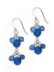 Sterling Silver Stone Cluster Two Tier Drop Earrings, Blue Quartz