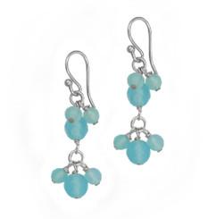 Sterling Silver Stone Cluster Two Tier Drop Earrings, Ocean Blue