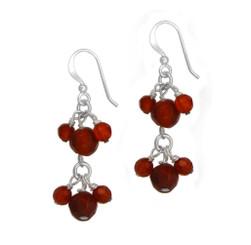 Sterling Silver Stone Cluster Two Tier Drop Earrings, Carnelian