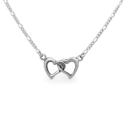 Sterling Silver Interlocking Hearts Station Necklace