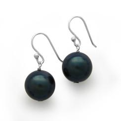 Sterling Silver Shell Pearl Drop Earrings, Peacock