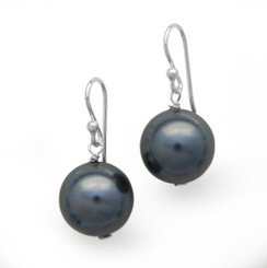 Sterling Silver Simulated Pearl Drop Earrings, Gray