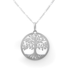 Sterling Silver Tree of Life Circle Pendant Necklace