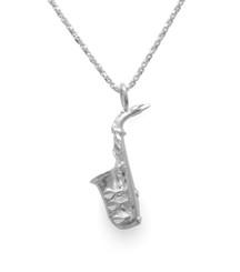 Sterling Silver Saxophone Pendant Necklace