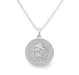 Sterling Silver St. Christopher Charm Necklace For Him