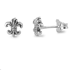 Sterling Silver Bijou Fleur De Lis Post Earrings