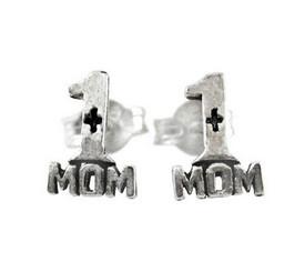 Sterling Silver Number 1 Mom Post Stud Earrings