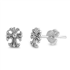 Sterling Silver Small Cross Pattee Post Earring