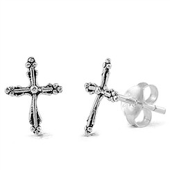 Sterling Silver Thin Fancy Cross Post Earrings