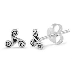 Sterling Silver Triskele Post Earrings