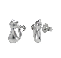Sterling Silver Swirl Tail Cat Post Earrings