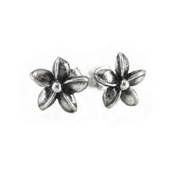 Sterling Silver Plumeria Flower Hawaii Stud Post Earrings
