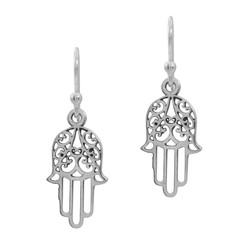 Sterling Silver Hamsa Dangle Earrings, 1 3/16 Inch