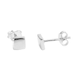 Sterling Silver Raised Square Post Earring, 5mm