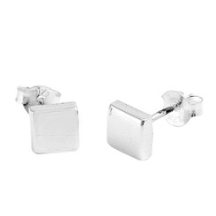 Sterling Silver Raised Square Post Earring, 6mm