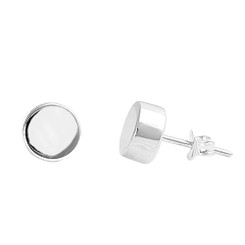 Sterling Silver Raised Circle Post Earring, 6mm