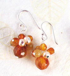 Sterling Silver Stone and Pearl Cluster Round Stone Drop Earrings, Carnelian