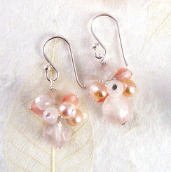 Sterling Silver Stone and Pearl Cluster Round Stone Drop Earrings, Rose Quartz